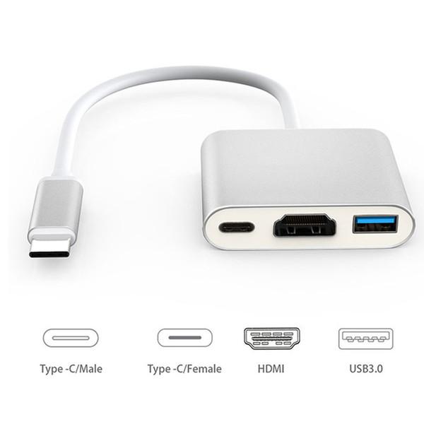 Yeni Tip-C USB C HDMI USB 3.1 Tip c İşlevli Adaptör Kablosu Erkek Kadın Şarj Dönüştürücü Dijital AV Multiport