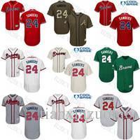 Hombres verde gris rojo crema Celtic 24 Deion Sanders Auténtico Jersey # 24 Majestic Braves Flexbase Collection