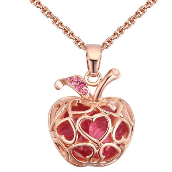 Apple Pendant Necklaces For Women Austria Crystal Vintage Fashion Jewelry Accessories High Quality Ladies Gift 27888