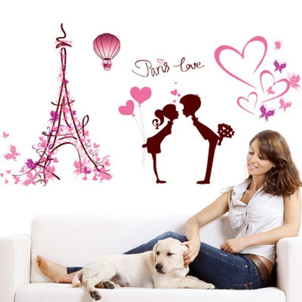 113*61cm PARIS LOVE Wall Stickers Wallpaper Christmas Paper Peint 3d Home Decor Bathroom Kitchen Accessories Household Suppllies