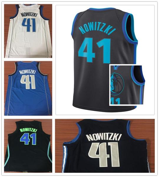 reputable site 5f060 748e3 2018 2019 New City Edition Black 41 Dirk Nowitzki Jersey Sportswear Navy  Blue White Dirk Nowitzki Jerseys Stitched Breathable Shirt From Martin20,  ...