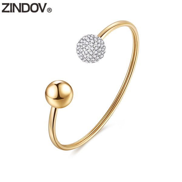 ZINDOV Gold Bracelets Bangles Stainless Steel Vintage Rose Gold Women Jewelry Crystal Cuff Bangle For Women Mothers Day Gift Hot
