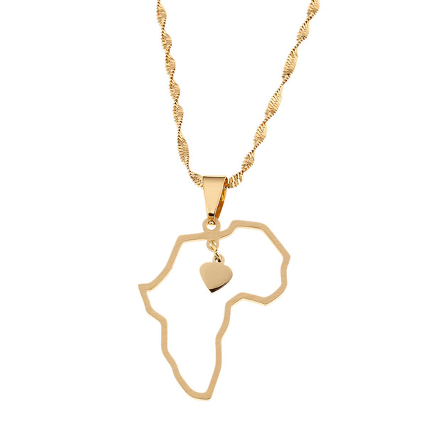 Gold Plated Stainless Steel African Map Pendant Necklace Jewelry Heart Charm Map of Africa Jewelry