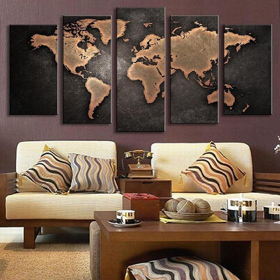 5 Pcs/Set Framed Modern Abstract Wall Art Painting World Map Handpainted Painting High Quality Canvas Home Wall Decor Multi Sizes l32