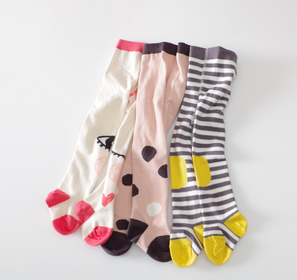 Kids pantyhose INS baby girls eye love heart polka dots knitted leggings autumn children stripes patches tights kids cotton bottom Y4469