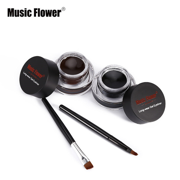 Music Flower Eye Liner Gel Water-proof Smudge-proof Eye Liner Kit Eye Makeup Cream With Brushes 24H Long Lasting
