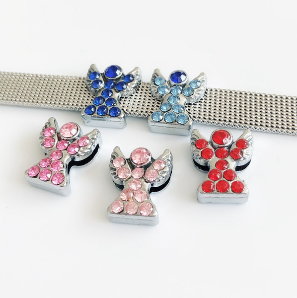 10PCs DIY Accessories Mixed color 8MM Rhinestone Angel Slide Charms Beads Fit 8mm Pet Collar Belts Strips Bracelets