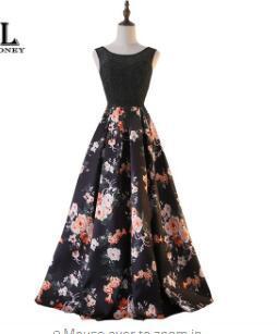 LOVONEY Sweep Train Flower Pattern Lace Evening Dress Long Party Dresses Evening Gown Lace-Up Back Vestido De Festa M213