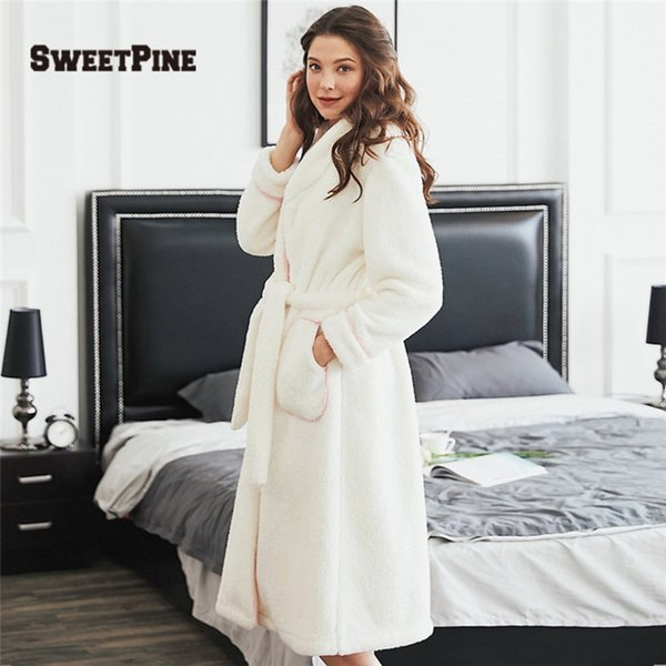 2018 New Solid Color Night Robe Women Sleepwears With Waist Belt & Pockets Super Soft & Warm Winter Autumn Top Quality Pajamas