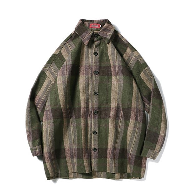 cebae57d5 Oversized Flannel Vintage Shirt Men Plaid Long Sleeve Check Shirts For Men  Loose Button Up Shirt Casual Streetwear 6c027