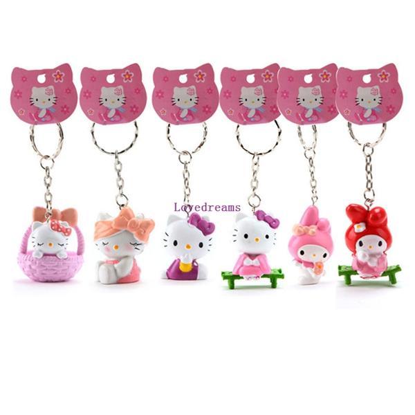 6pcs/lot Anime Cartoon Cute Hello Kitty Mini phone Key Ring PVC Chaveiro Keychains Action Figure Toys