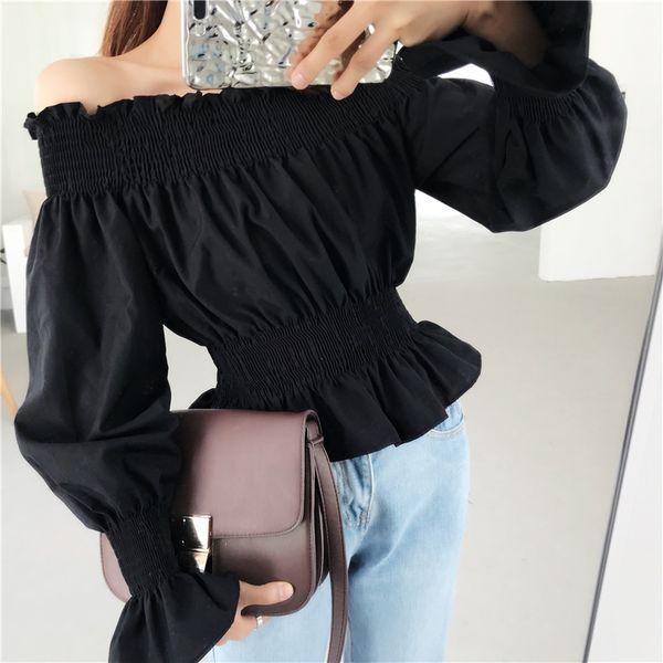 2018 New Girls Slash Ruffled Neck Cropped Tee Shirts Lady Full Lantern Sleeve Off-shoulder Ruffles Crop Tops Tees Blouses Women