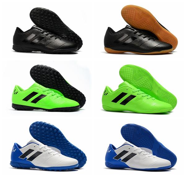 2018 botines de fútbol para hombre, zapatos de fútbol para interiores, césped Nemeziz Messi Tango 18.4 TF IC botas de fútbol Tacos de futbol negro