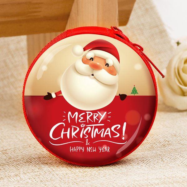 22# Christmas Round Change Purse Mini Key Holder Coin Purse Wallet Bag Headphone Christmas Gift Decoration Xams Tree Ornament DH0133