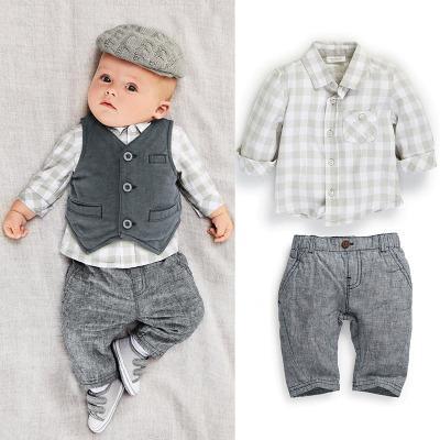 Baby Boys 3pcs Suits European Style Fashion Shirt+Vest +pants Plaid Suits Children Boys outfits Sets Infant Cotton Suit babies clothes