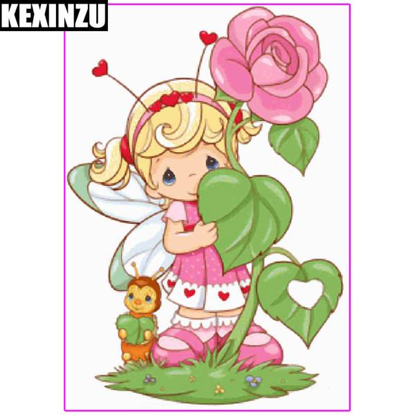 Kexinzu 5D DIY Diamond Painting Cartoon Girl Square Diamond Rhinestone Cross Stitch Kit Embroidery Mosaic Home Decor