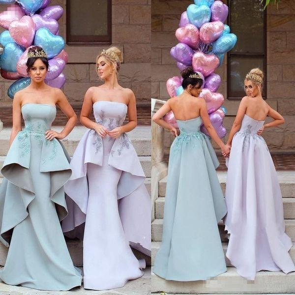 Chic Mermaid Arabic Dubai Bridesmaid Dresses 2018 Strapless Appliques with Removable Peplum Train Long Maid of Honor Wedding Guest Dress