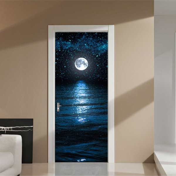Großhandel Mond Sterne Tapete Wasserdicht Wandbild Poster Badezimmer Tür  Aufkleber Renovierung Wandkunst Nachahmung 3D DIY Wandaufkleber ...