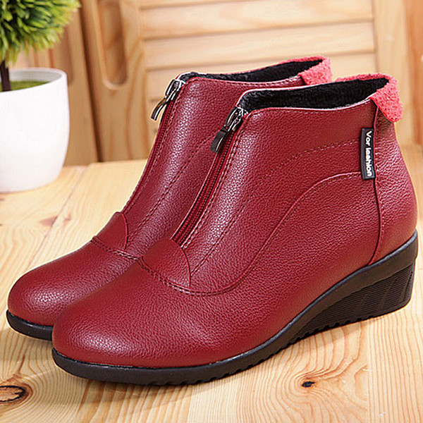 Ankle Boots Women Winter Soft Leather Boots Fashion Flats Casual Ankle For Women Round Toe Zip
