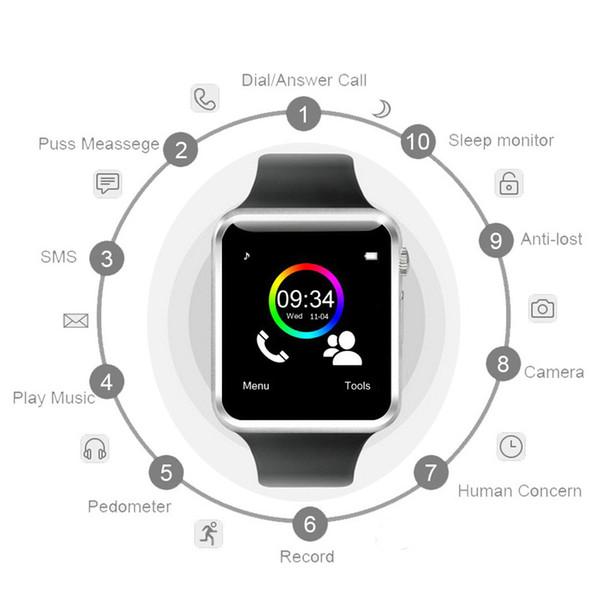 A1 смарт-часы Smartwatch Bluetooth цифровые наручные спортивные часы SIM-карты интеллектуальный мобильный телефон с камерой для iOS Android Samsung
