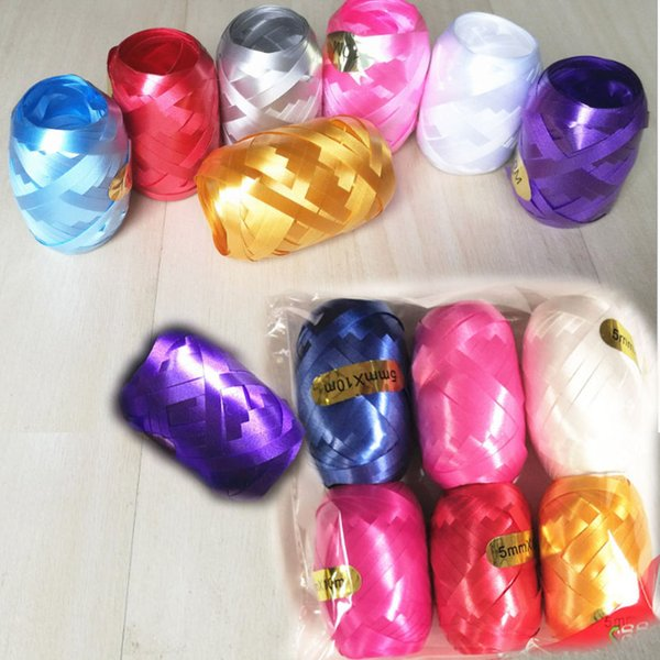 Colorful ribbon 5mm*10m*6 pcs for balloons Wedding decoration Birthday party supplies ballons accessories Gift box tie knot