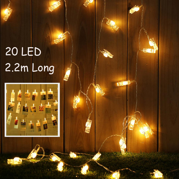 2 2m 20led Photo Clip String Light For Picture Hanging Party Home Decor Usb Battery Warm White Led Lighting Waterproof Led Strip Lights Outdoor Led