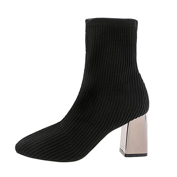 women socking boots fashion high heel socking knitting upper metal heel ladies shoes zapatos de muje for confortable women boots