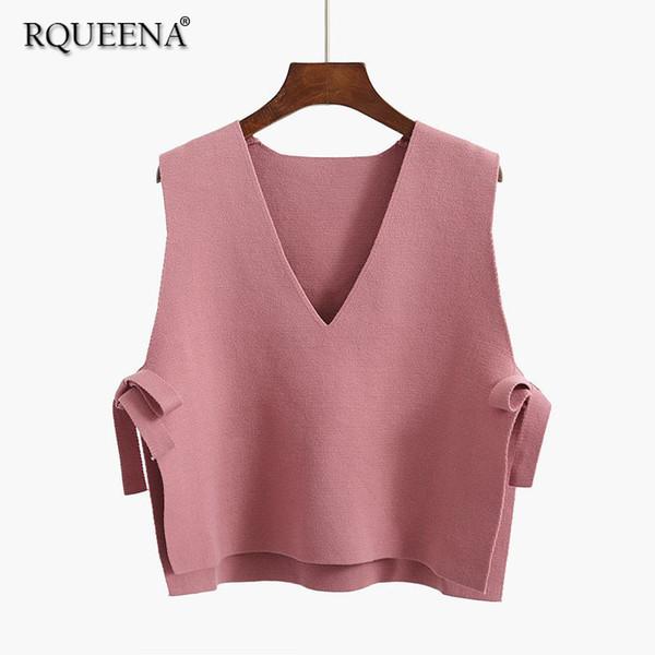 2018 Autumn Women Fashion V Neck Pink Sweater Vest Korean Knitted Vest Sweater Woman Loose Short Sleeveless Vests Womens