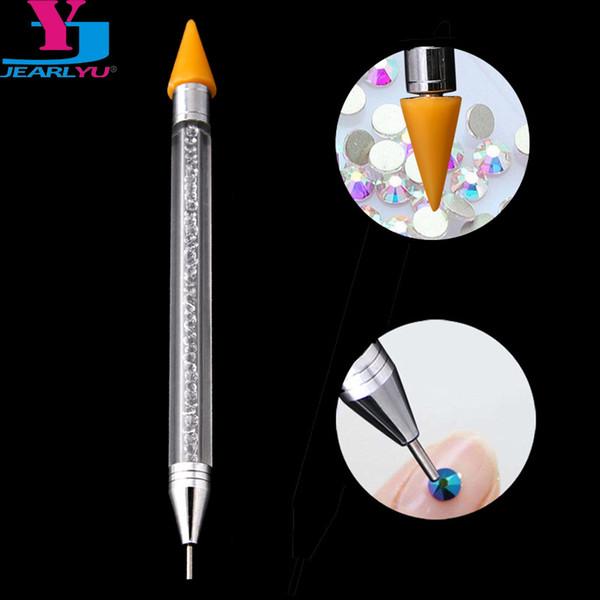 Dotting Tools JEARLYU 1PC Wax Pencil Jewel Picker Pen High Quliaty Diamond Dots Nails Decoration Pick Up Pens Kit 2 Vias Acrylic