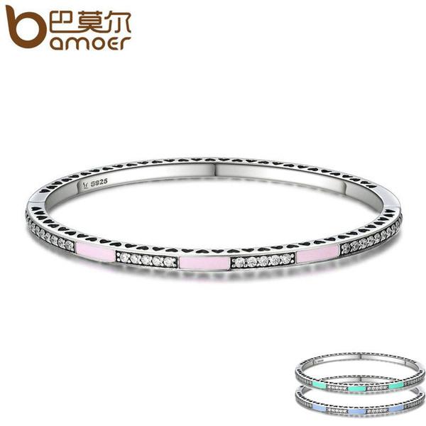 5799441fb whole saleBAMOER Genuine 925 Sterling Silver 3 Color Radiant Hearts, Light  Pink Enamel & Clear