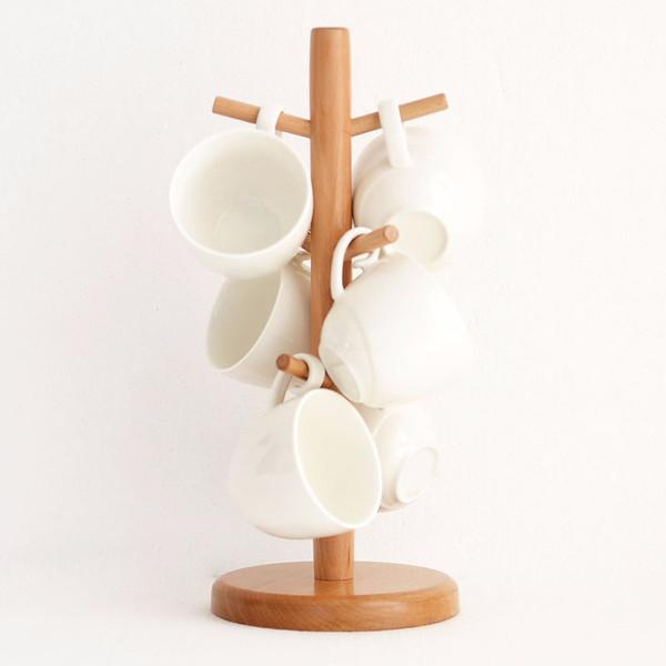 Cups Storage Holder 6 Hook Peg Wooden Hanging Tea Cup Coffee Mug Tree Rack Kitchen Accessories