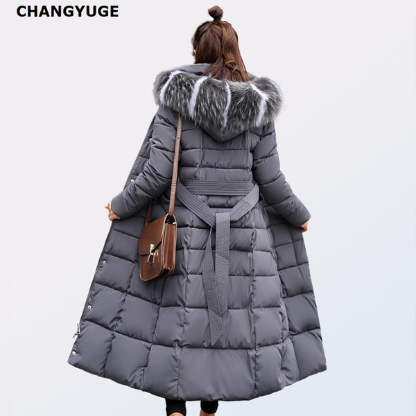 CHANGYUGE Winter Women Ultra Light Down Jackets Slim Hooded Extra Long Women White Duck Down Padded Coats Warm Belt Parkas