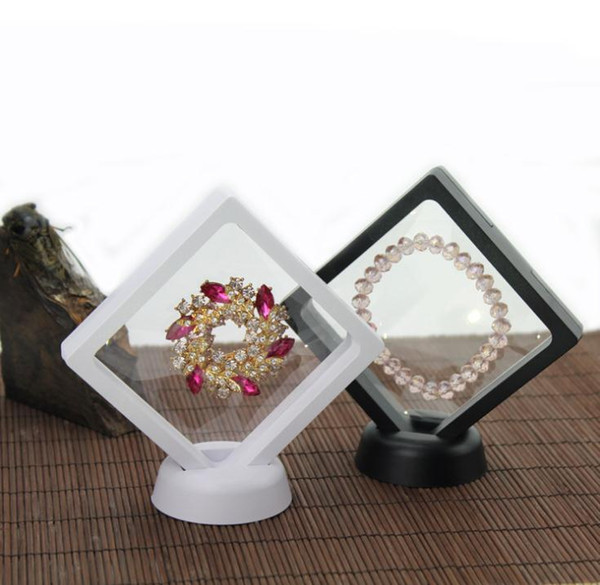 PET Membrane Jewelry Ring Pendant Display Stand Holder Bague Packaging Box Protect Jewellery & Stones Floating Presentation Case SN297