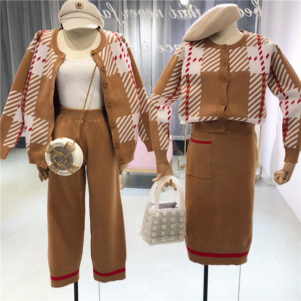 Amolapha Women Knitted Striped Cardigans+Pants 2PCS Clothing Sets Knit Cardigan+Skirts Clothes Suits