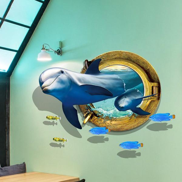 Yeni Karikatür Yunuslar 3D Kırık Duvar Çıkartmaları PVC Sualtı Duvar Çıkartması Resimleri için Deniz Hayvanlar Çatı Çıkartmalar Oturma Odası Çoc ...