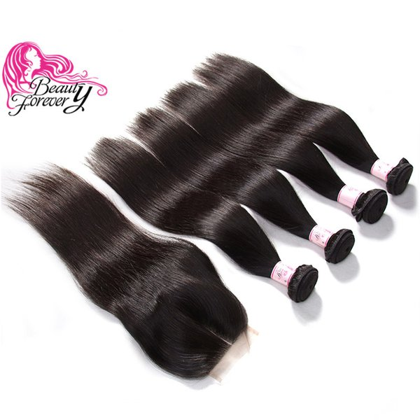 Beauty Forever 8A Cheap Malaysian Straight Hair Weave 4 Bundles With Lace Closure Unprocessed 8-30inch Virgin Human Hair Extension Wholesale