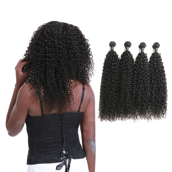 Grado 9A indiano ricci capelli umani tessitura doppie estensioni trecce Jerry arricciatura totale 400g 100 g / pacchetto in vendita