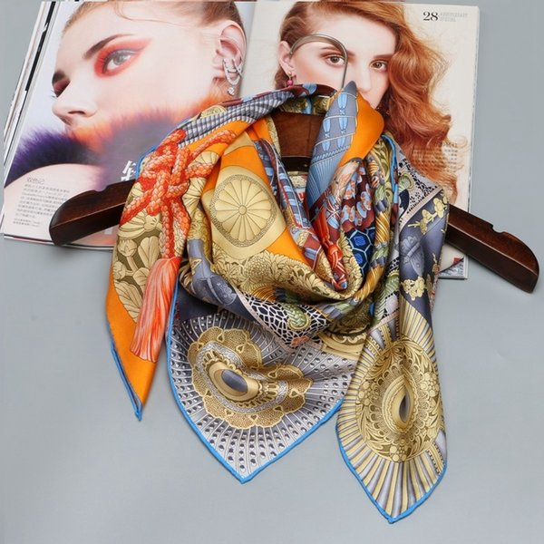 100% Silk Scarf Hijab Foulard Head Scarves for Hair Wrapping Large Square Silk Twill Scarfs Shawl Wraps Hand Roll 88x88cm Y18102010