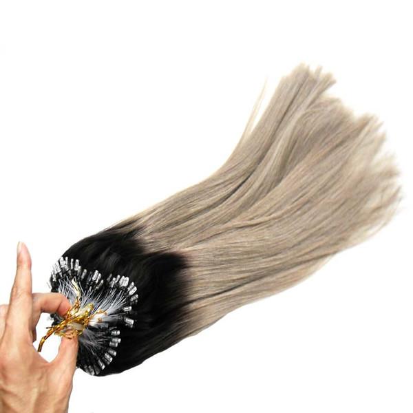 Loop Micro Ring 100Strands Remy Straight Hair Loop Micro Ring Human Hair Extensions European Salon Link Bead Real Tip Hair