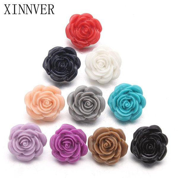 10pcs/lot Random Delivery 18mm Rose Flower Resin Snap Buttons For Leather Bracelets Watches Women One Direction ZD040