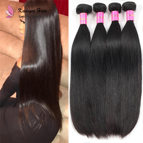 "Free Shipping Indian Silky Straight 100% Human Remy Hair Weaving Extension Natural Color 8""-30"" No Shedding Wholesale Price"