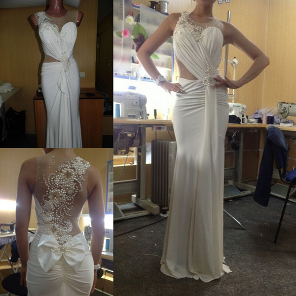 Pageant Ivory Prom Dresses Long Pearls Ruched Mermaid Evening Dresses See Through Cut Out Waist Long Homecoming Gowns Party Dress USA