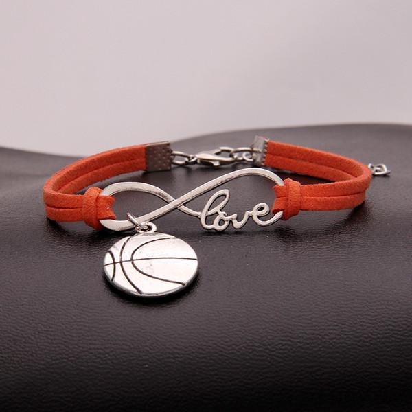 2018 Hot Sale New Stylish Punk Infinity Love Basketball Bracelet Men Women Orange Leather Rope Bangle For Christmas New Year 14 Color Choose