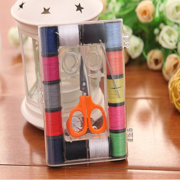 Multicolors Needle Sewing Set Box Accessory Kit Set Thread Scissor Button Home Hotel Sewing Tools QW8503