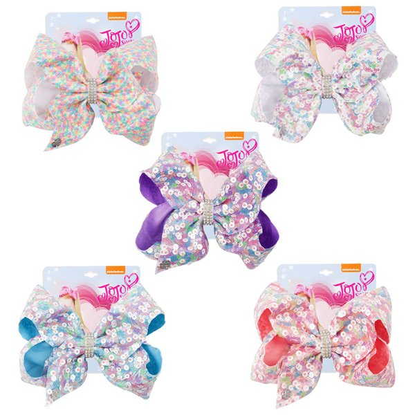 7'' Large Sequin Hair Bows Crystal Bling Candy Color Sequin Hair Clips Girls Fashion New Year Gift Headdress Hair Accessories