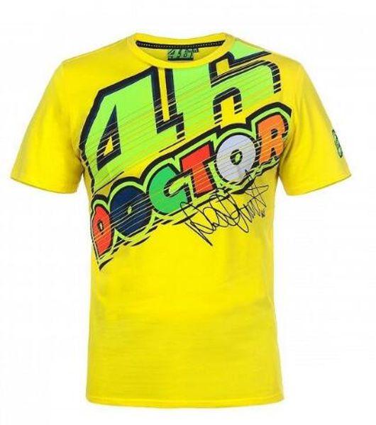 Free shipping 2018 Valentino Rossi VR46 The Doctor Yellow T'Shirt Racing Moto GP VR46 Men's T-Shirt E
