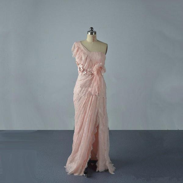 Nouvelle robe de soirée asymétrique encolure gaine plissée taille corset griffe rides fleurs faites à la main avant Split balayage train robes de bal