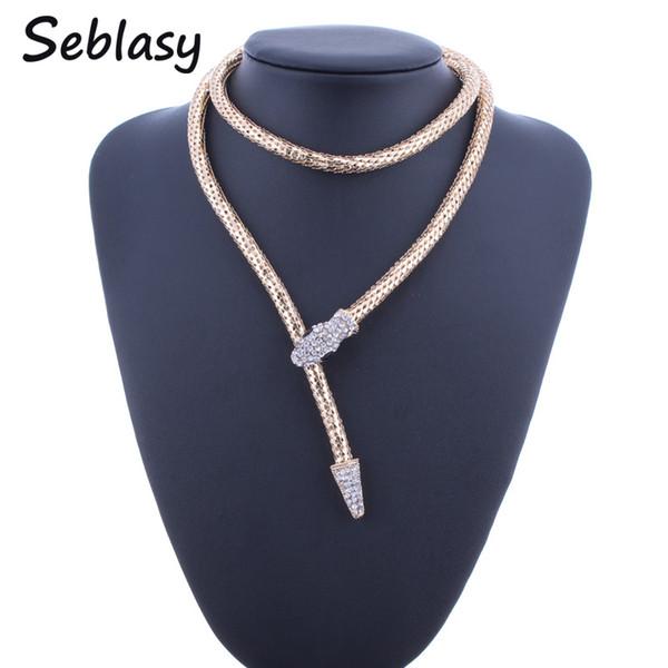 whole saleSeblasy Luxury Gold Color Long Snake Belt Chain Necklaces & Pendants Punk Alloy Crystal Snake Statement Choker Necklaces Women