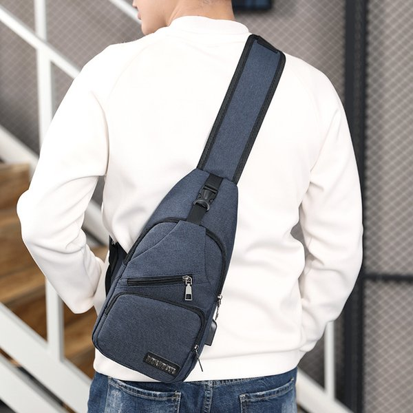 Men USB Charger Chest Bag Single Sling Large Capacity Shoulder Bags Crossbody Oxford Backpack Creative Function Designer 17bg ZZ