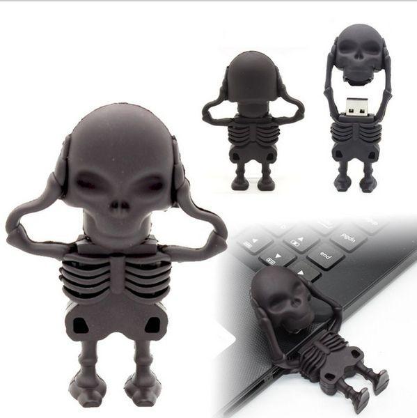 Usb Flash Drive Humen Skeleton Pen Drive Cartoon U Disk New Design Memory Sticks 16GB Pendrive 8gb Cool Flash Card u46